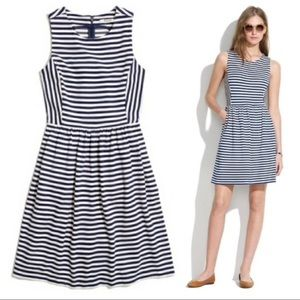 Madewell Afternoon Fit & Flare Striped Knit Dress